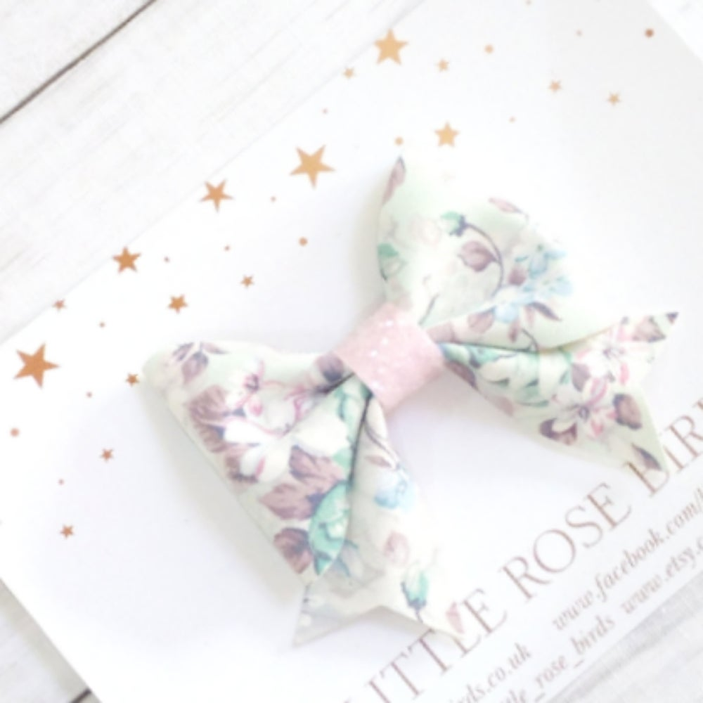 Image of Mint Floral Suede Bow