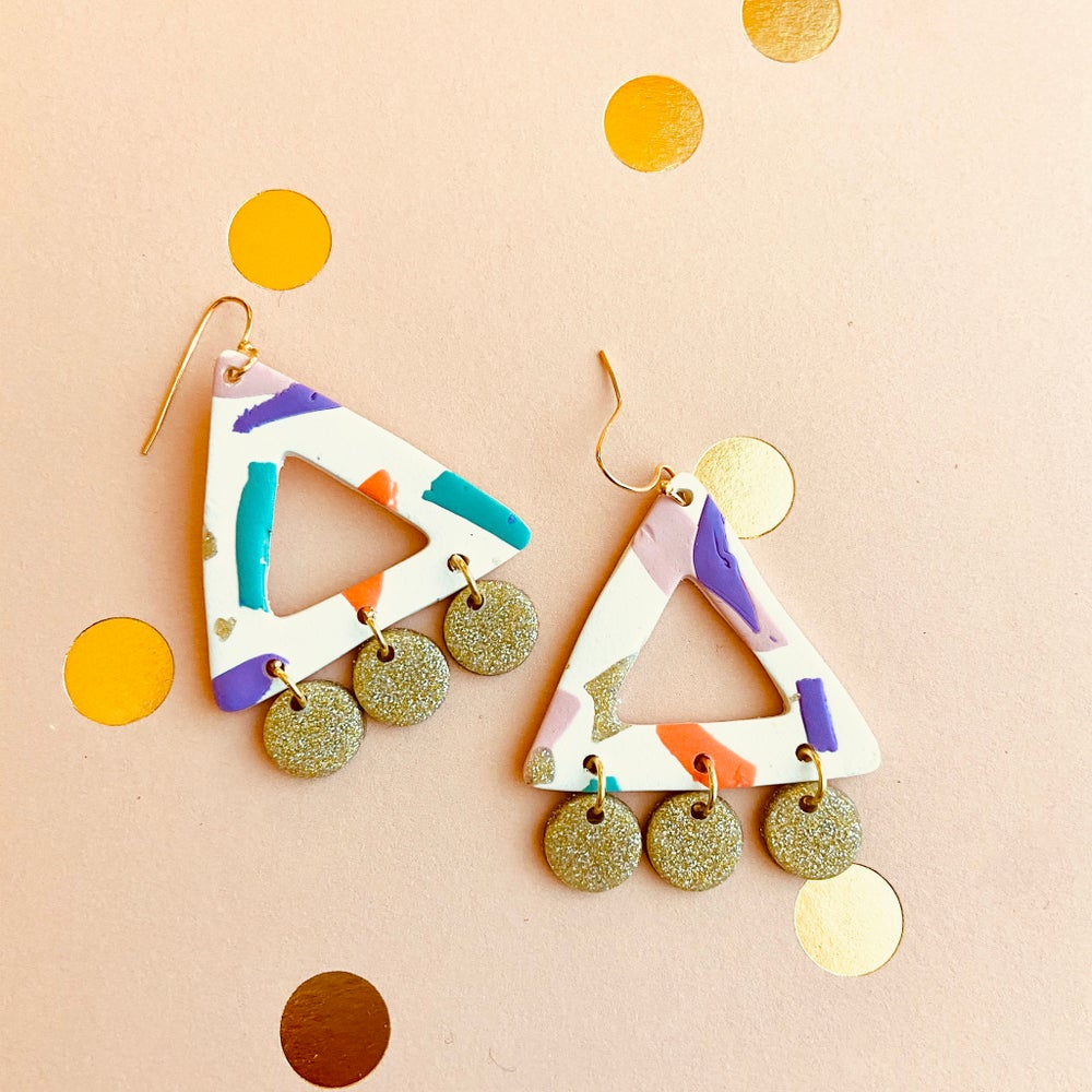 Image of Confetti Triangle on Wheels Earrings