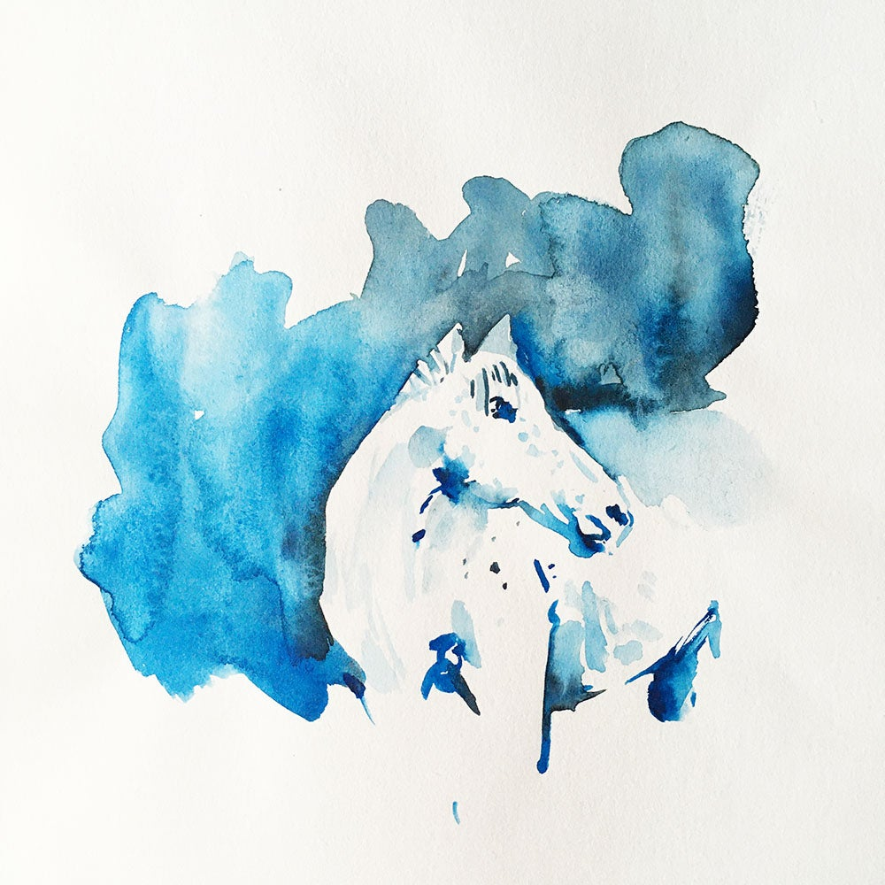Image of Aquarelle d'un cheval bleu