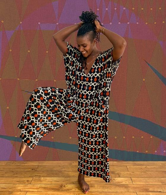 Image of  •Déwo• kaftan jumpsuit: plissé leo geo