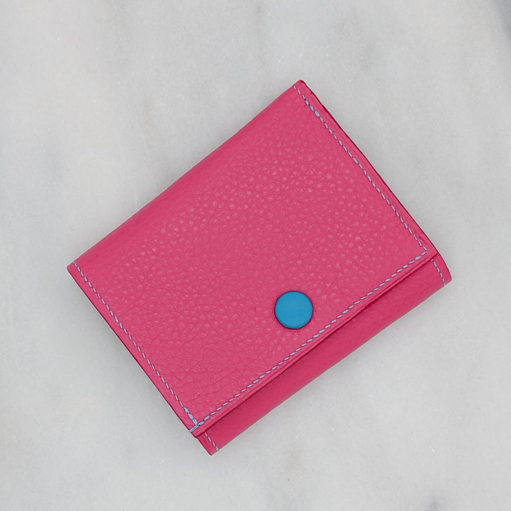 Image of TRIFOLD Wallet with Snap – PINK & BLUE