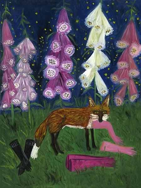 Image of Foxglove garden at night. Limited edition print.