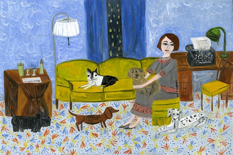 Image of Dorothy Parker with her dogs at The Lowell, overcoming writer's block. Limited edition print.