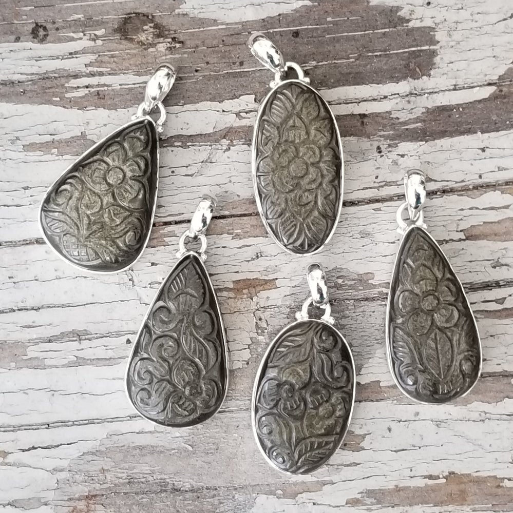 Image of Ella Collection Pendants - Golden Sheen Obsidian in Sterling