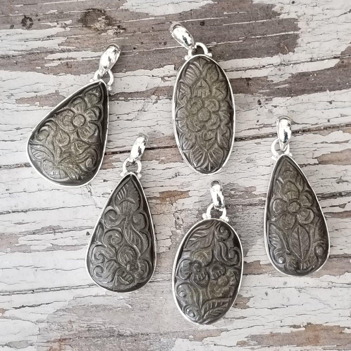 Image of Ella Collection Pendants - Golden Sheen Obsidian in Sterling