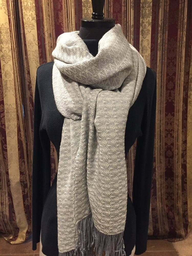 Image of Frosted Feathers Handwoven Shawl