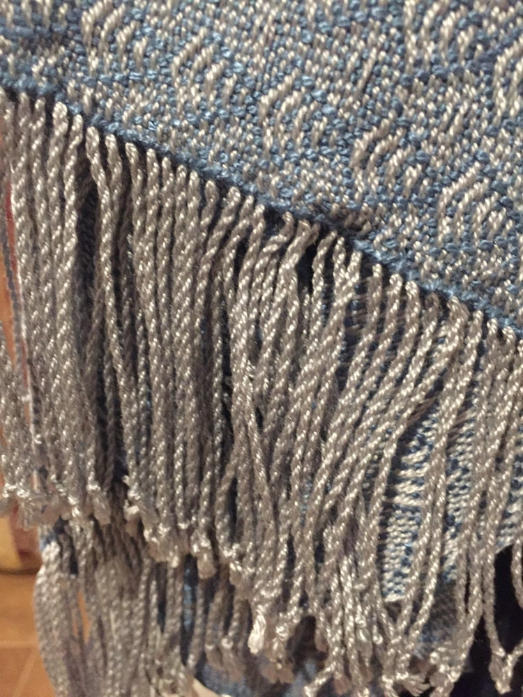 Image of Teal Feathers Handwoven Shawl