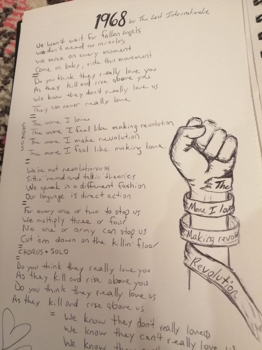 Image of Handwritten Lyric sheet (Personalized and signed)