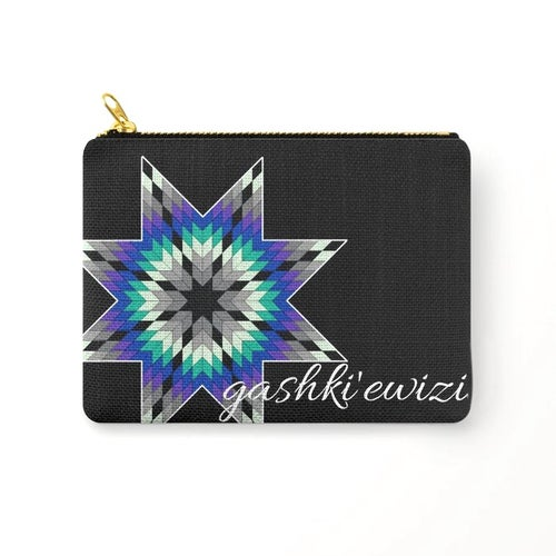 "Image of Gashki'ewizi ""S/he Who Succeeds"" Zipper Pouch (Blues)"