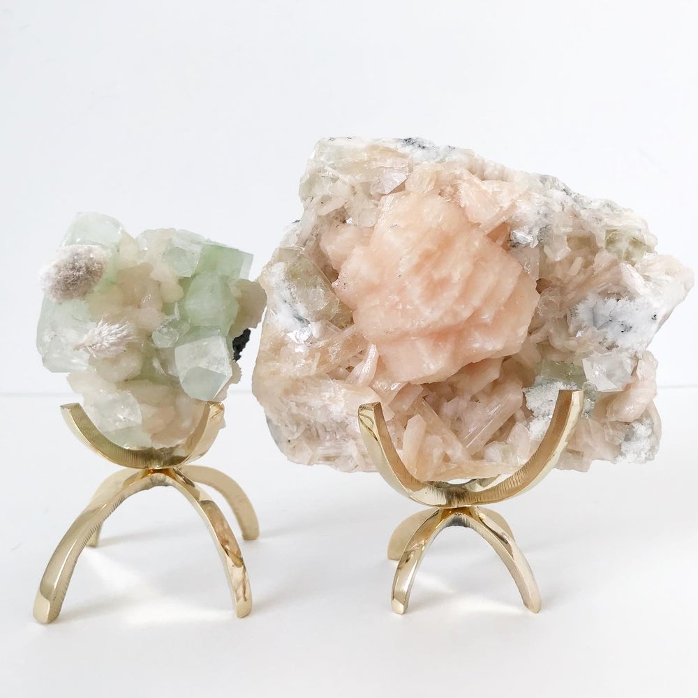 Image of Green Apophyllite/Stilbite no.05 Pink Cactus Collection Brass Claw Pairing