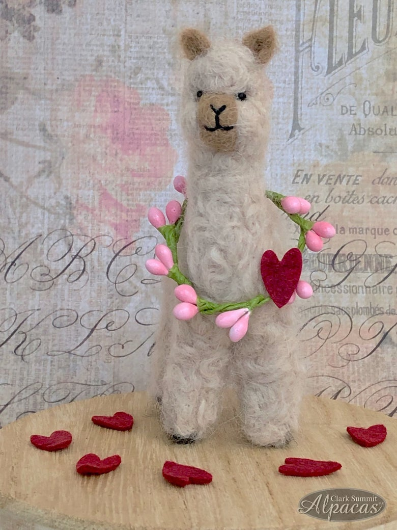 Image of Mini Alpaca for Your Sweetheart - Valentine's Day - Welcome Spring - Made with Alpaca Fiber