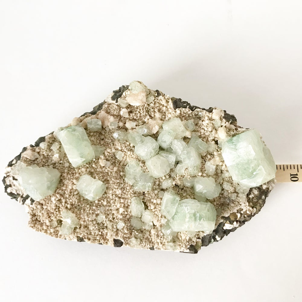 Image of Green Apophyllite no.07 Pink Cactus Collection Lucite Pairing