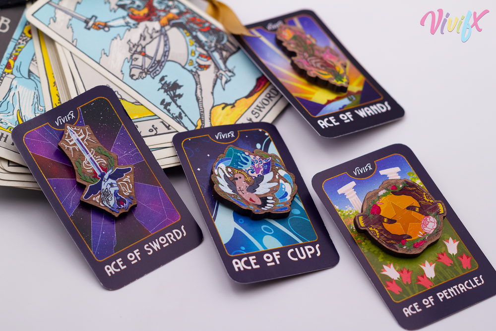 Image of Minor Arcana Aces Wooden Pins
