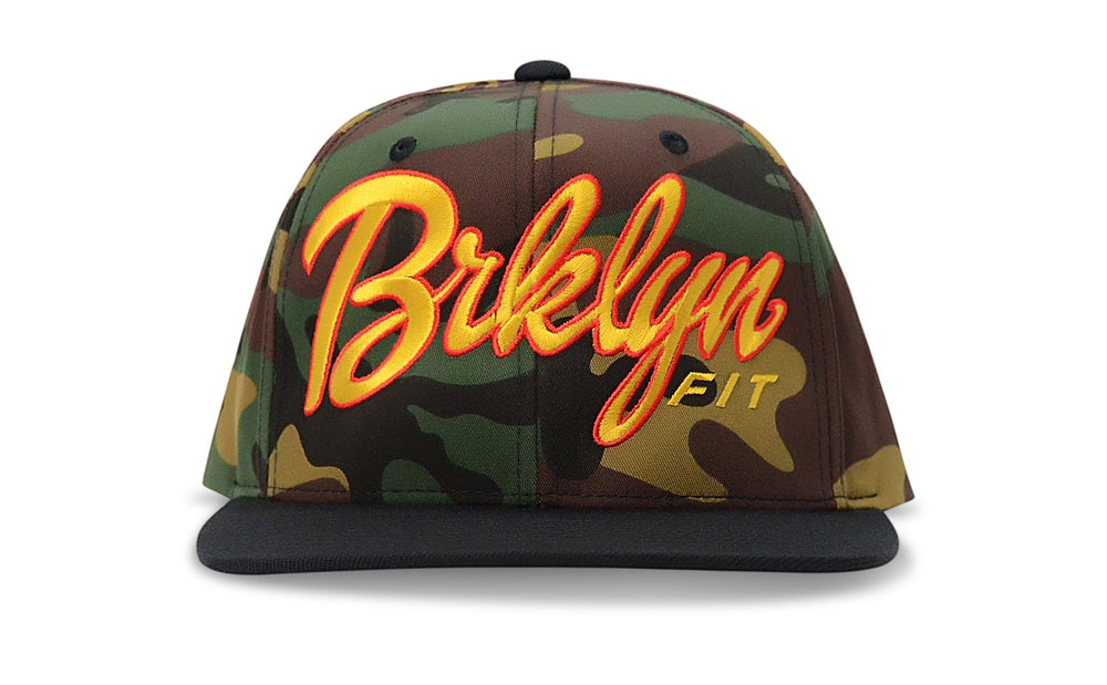 Image of BRKLYN FIT® LOGO (CAMO/BLACK/GOLD/RED) - SNAPBACK