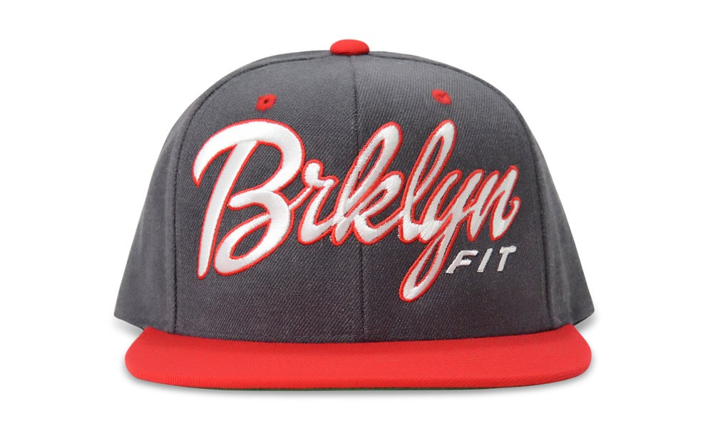 Image of BRKLYN FIT® LOGO (GREY/RED/WHITE) - SNAPBACK