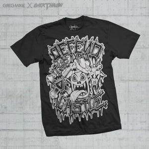 Image of OVERTHROW x GREG MIKE DEFEND THE CASTLE T-SHIRT CHARCOAL