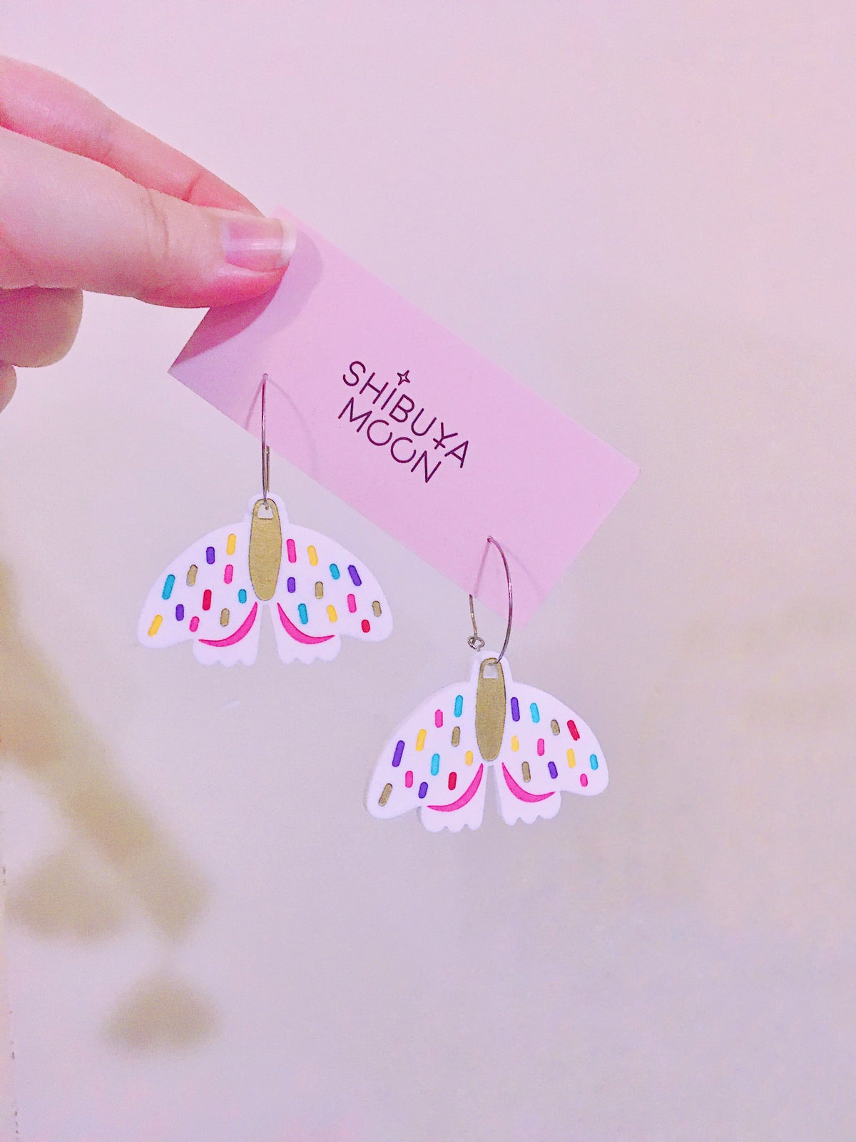 Image of Forest Moth Hoops (White/Confetti)