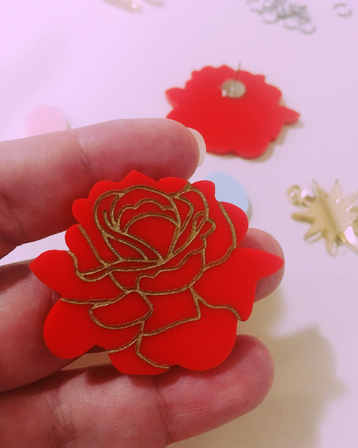 Image of Juicy Red Roses (Maxi Studs)
