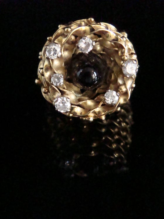 Image of Retro designer handmade 18ct onyx and diamond ring