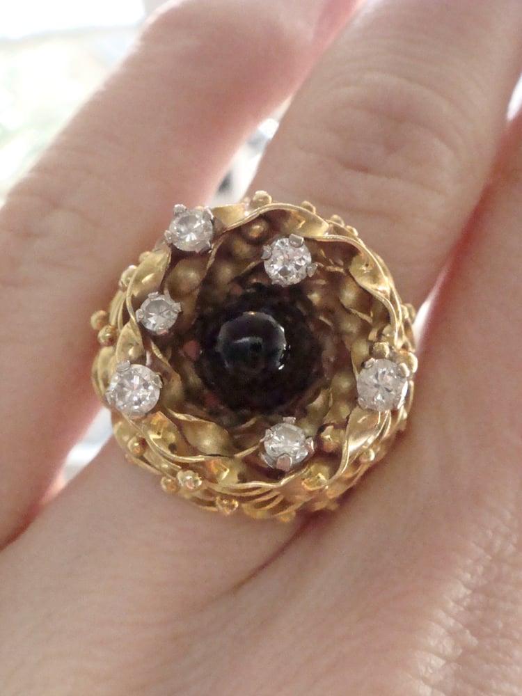 Image of Retro designer handmade 18ct onyx and diamond ring