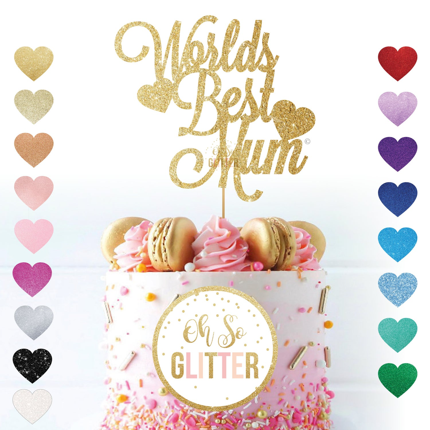 Image of Worlds Best Mum - Cake Topper - Mothers Day