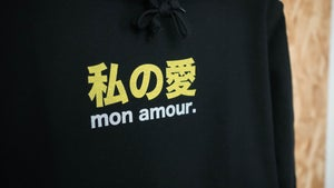 "Image of Sweat ""Mon Amour"" Black/Yellow By FCKRS®"