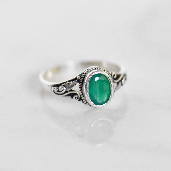 Image of Green Onyx oval cut vintage style silver ring