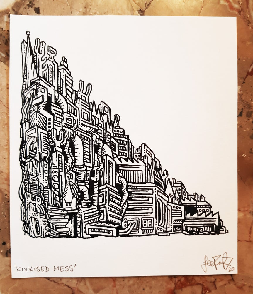 Image of 'Civilised Mess' Original Freehand Ink Drawing. Signed. Dip Pen. 15.3 x 13.3. 200 gsm.  2020. £100