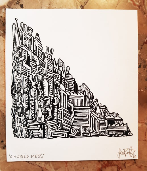 Image of 'Civilised Mess' Original Freehand Ink Drawing. Signed. Dip Pen. 15.3 x 13.3. 200 gsm.  2020. £100