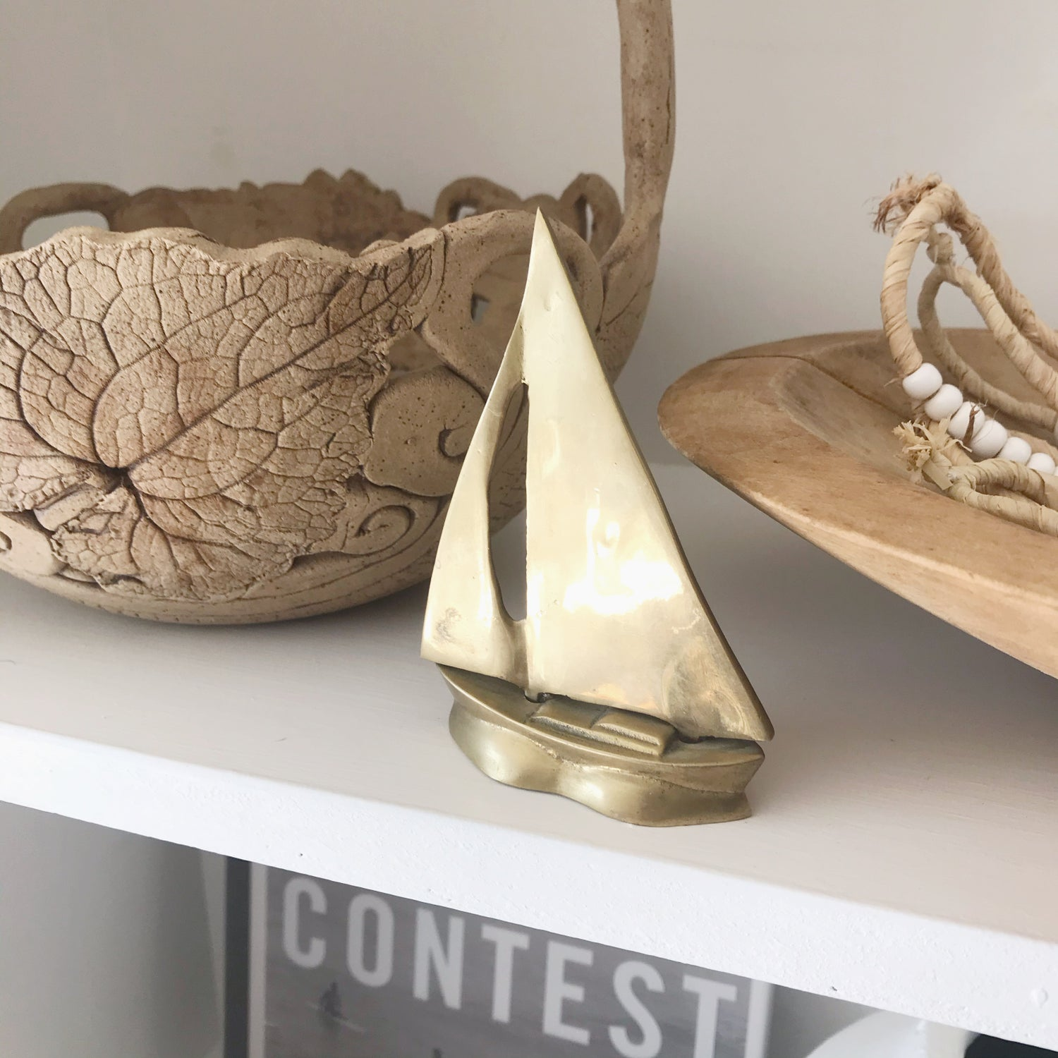 Image of Small Solid Brass Sailboat