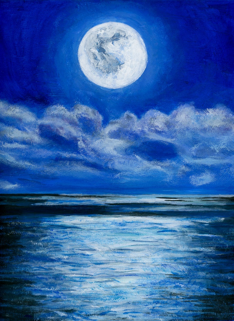 Image of Full Moon Painting on Canvas