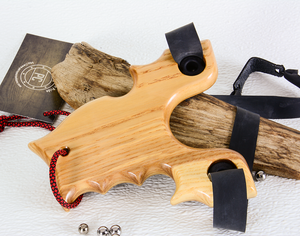 Image of Sling Shot made of Exotic Wood of Paduk, Bocute and Ash.  Custom Wooden Catapult, Unique Gift