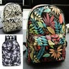 Canvas backpack - Leaves, Palm trees, Black and white pattern