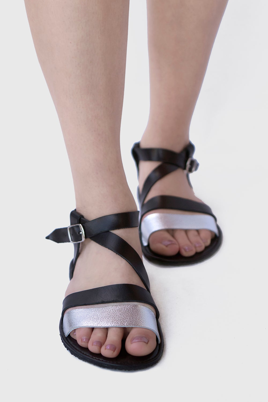 Image of  Safita - Sandals in Black/Silver Metallic
