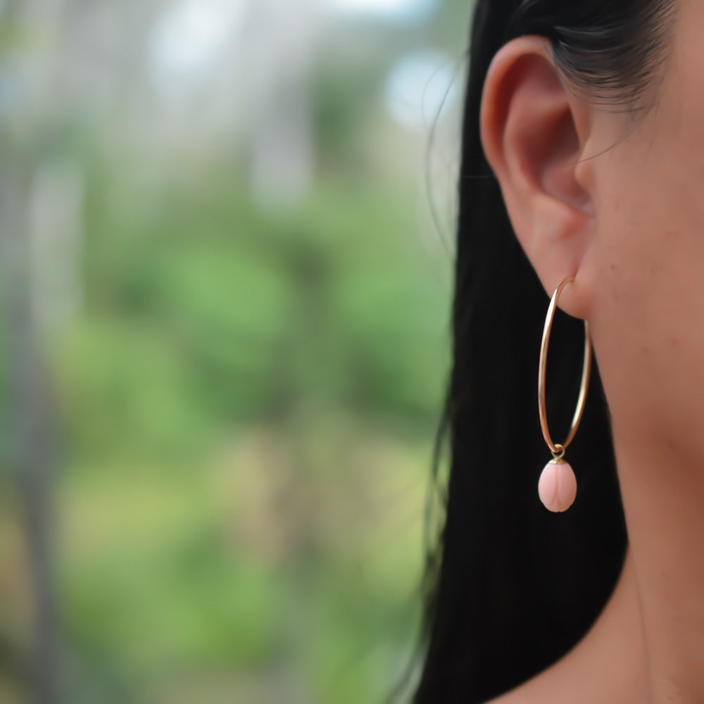 Image of Pikake Hoop Earrings Pink or White