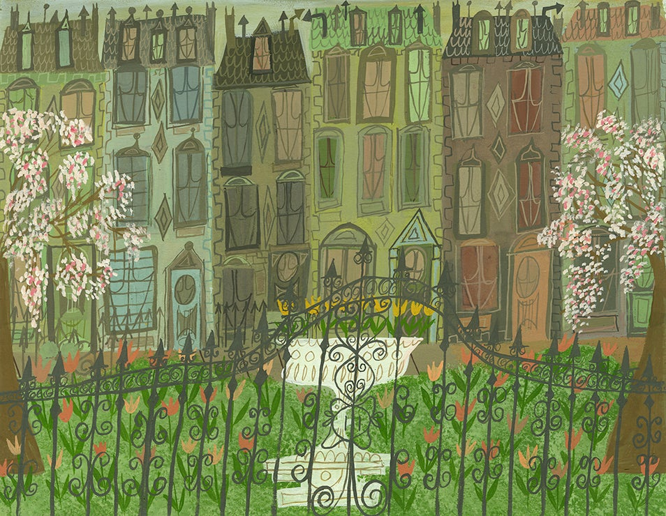 Image of Gramercy Park in the spring. Limited edition print.