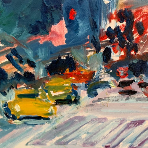 """Image of Down 7th Ave 30"""" x 40"""" painting"""