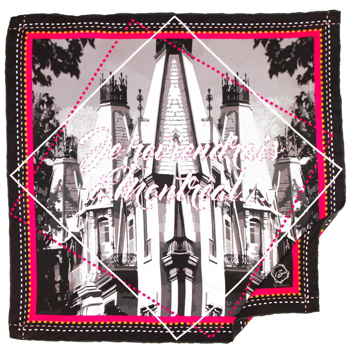 Image of JE REVIENDRAI A MONTREAL, Le Grand Foulard (carré en soie de 90/90cm)