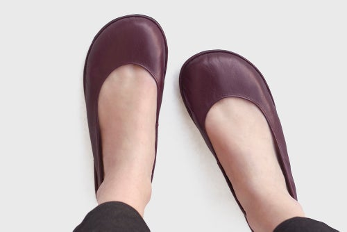 Image of Lotus in Burgundy - Leather Ballet flats