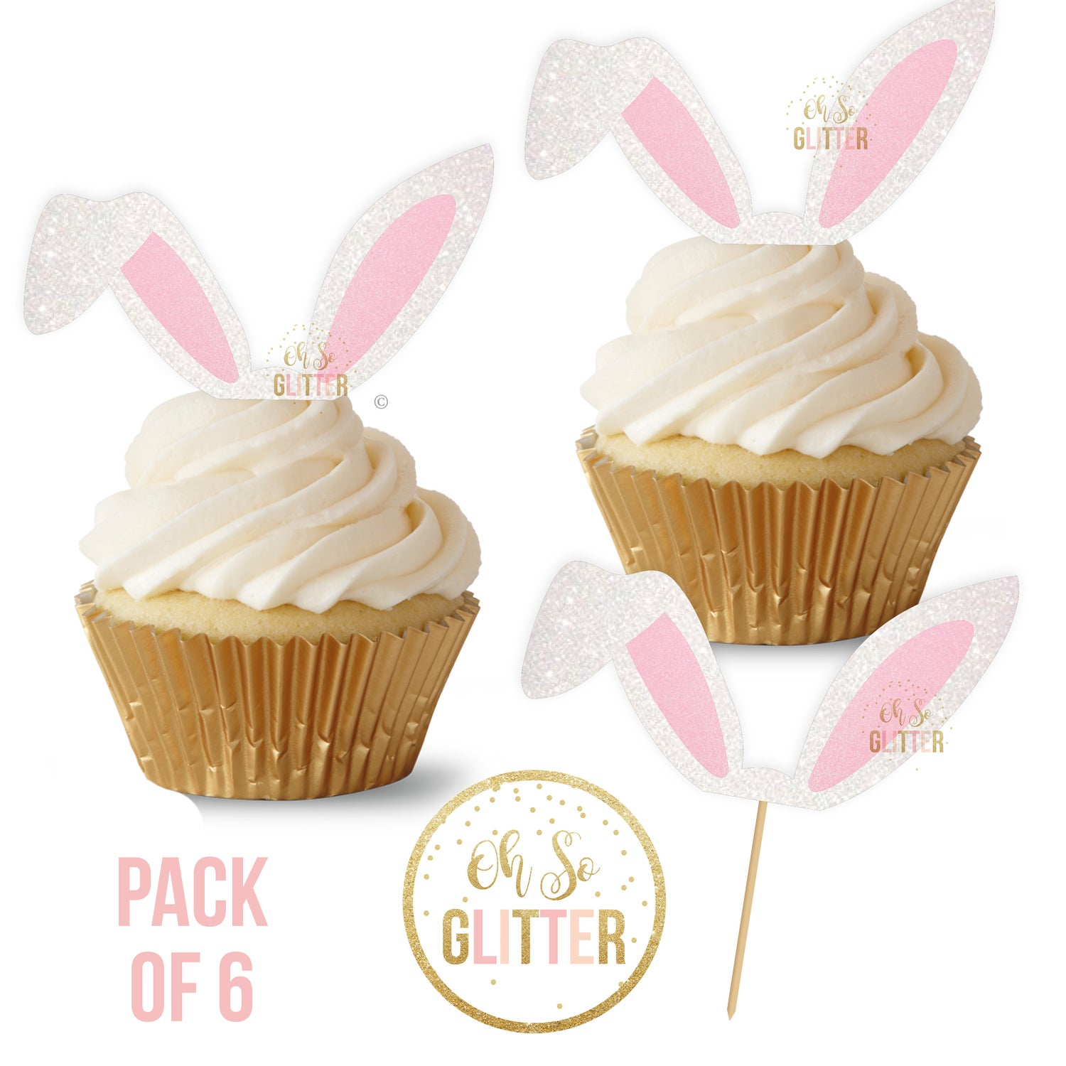 Image of Bunny Ears cupcake toppers