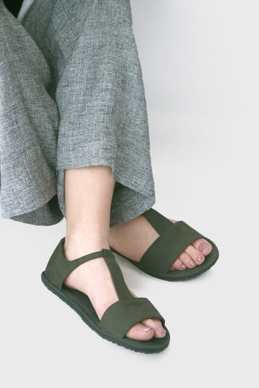 Image of T-strap Sandals in Olive Nubuck