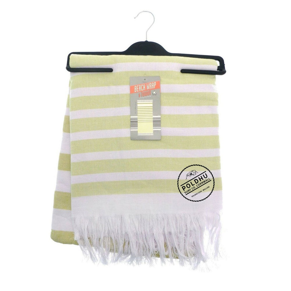 STRIPED BEACH WRAP WITH TOWEL BACK - YELLOW