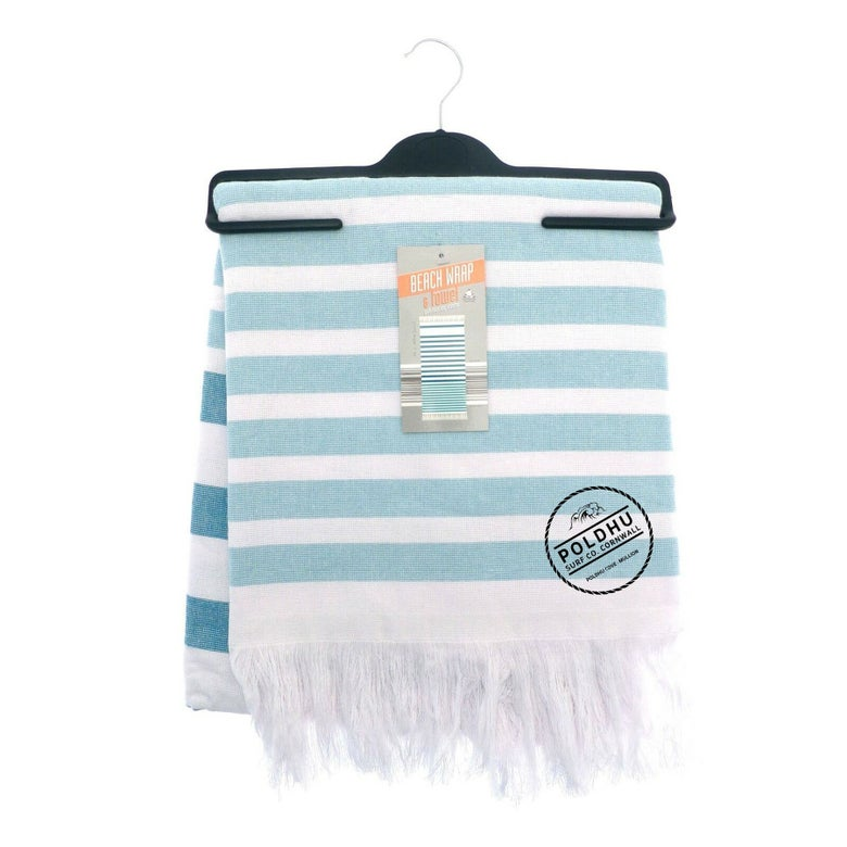 Image of STRIPED BEACH WRAP WITH TOWEL BACK - TEAL