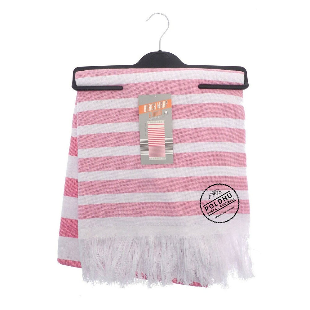 STRIPED BEACH WRAP WITH TOWEL BACK - PINK