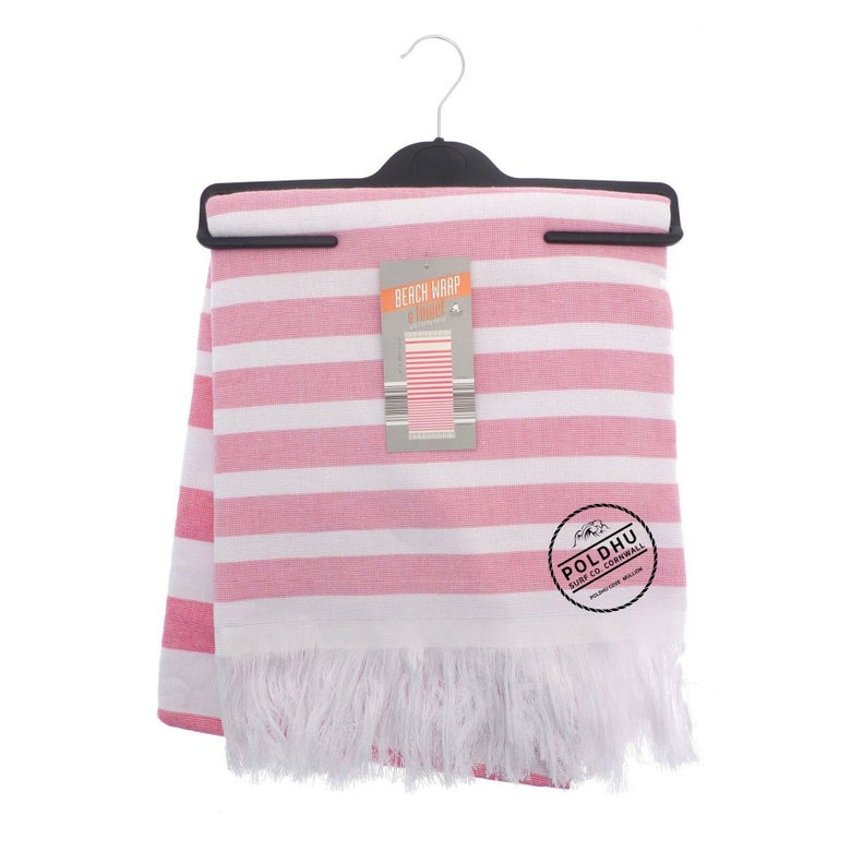 Image of STRIPED BEACH WRAP WITH TOWEL BACK - PINK