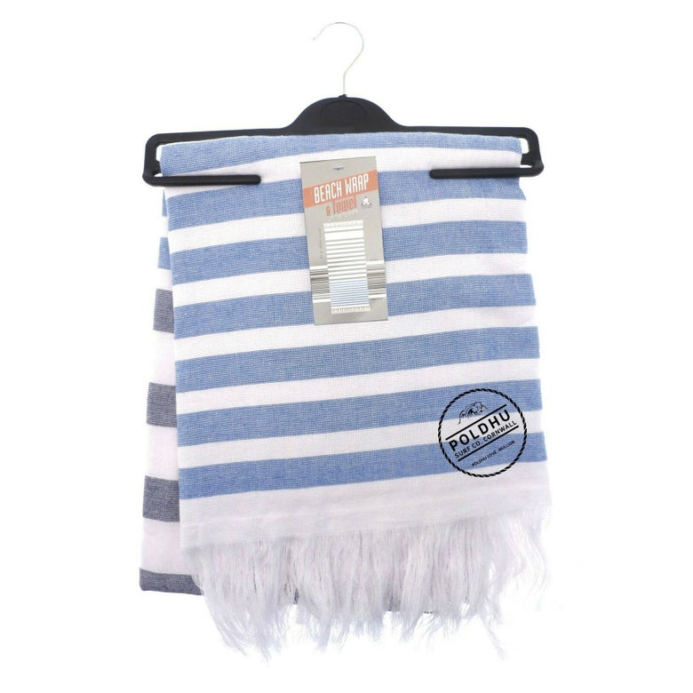 Image of STRIPED BEACH WRAP WITH TOWEL BACK - BLUE