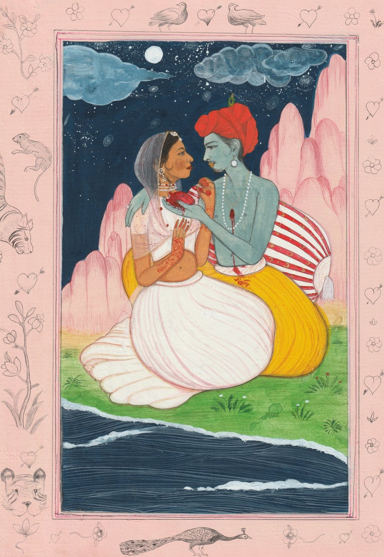 Image of Fine Art Print - Krishna gives Radha his heart 2019 - A4