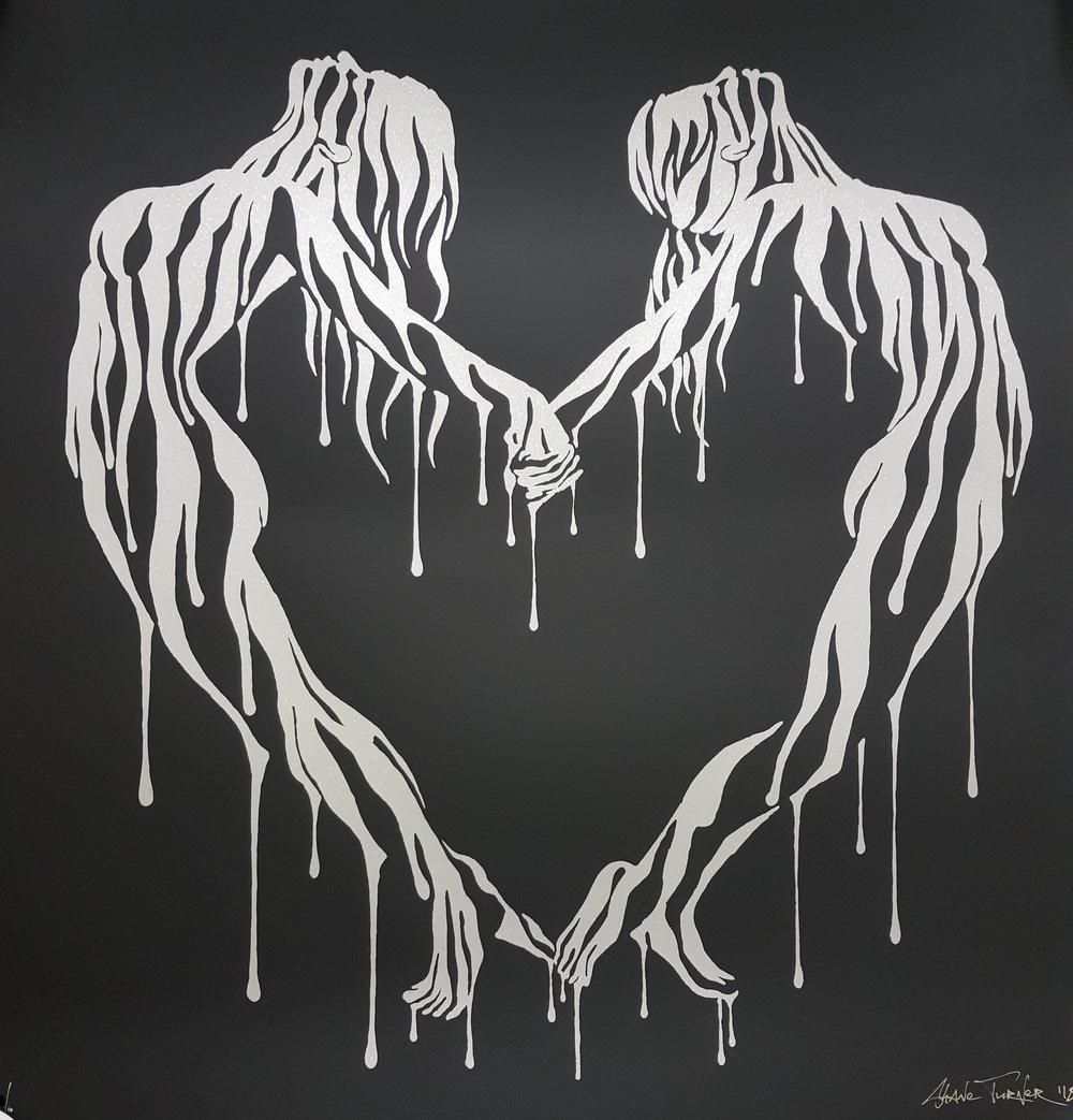 "Image of SHANE TURNER ""MAKING LOVE"" LTD SILVER GLITTER SCREENPRINT ED 10, 2018, 60CM X 60CM"