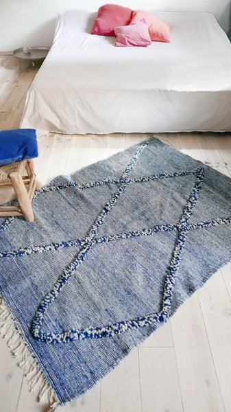 Image of Moroccan Wool Rug - Kilim Diamond Knots Blue