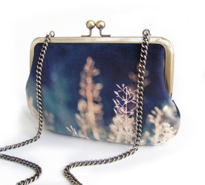 Image of Blue grasses, velvet clutch bag with chain handle